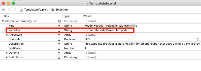 Xcode TemplateInfo.plist identifier
