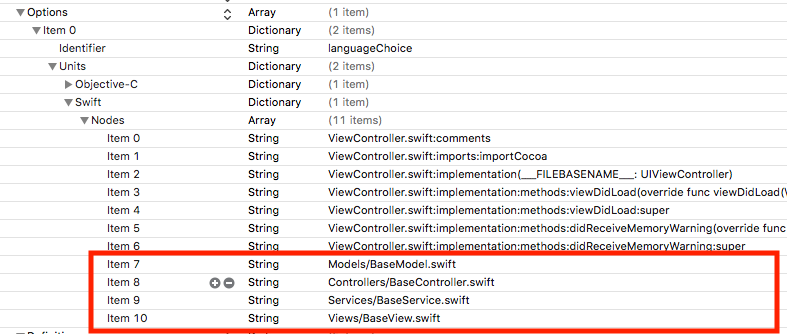 Xcode TemplateInfo.plist options