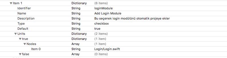 Xcode TemplateInfo.plist checkbox