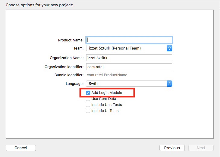 Xcode choose options for your new project